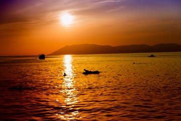 beautiful sunset on the Black Sea in summerin the village of Kabardinka