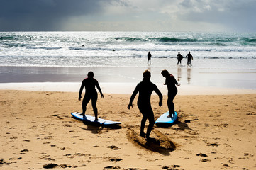 Surfing school lessons beach Portugal