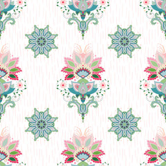 Seamless vector background. Indian flowers and round floral pattern. Hand drawing strokes backdrop.