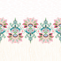 Vector seamless background with a border. Beautiful floral oriental pattern in vintage style. Wooden texture and strokes. Hand drawing.
