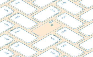 Smartphone seamless flat isometric pattern for background