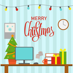 A Christmas decorated office workplace. Table with computer, gifts,  christmas tree. Office and homework, freelancers workspace. Flat style vector illustration.