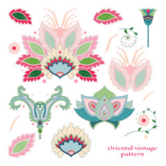 Set of elements of oriental flower create designs.