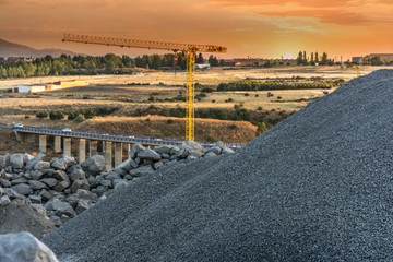 Construction works of the junction highway between the cities of Madrid - Segovia - Valladolid in central Spain