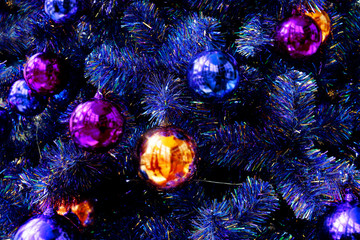 Christmas's balls decoration in Christmas's tree