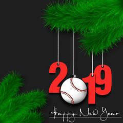 Baseball ball and 2019 on a Christmas tree branch