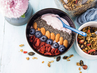 Yogurt raspberry smoothie bowl with goji berries and blueberries, almonds, chia seeds and granola on pastel turquoise wooden background. Plant based breakfast