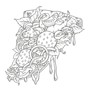 Sketchy pizza piece with tasty topping with tomato, pepperoni and mushroom using hand drawing style