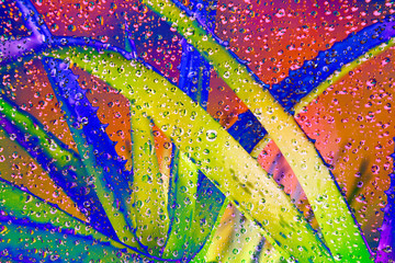 Trendy art print of neon cactus abstract with water