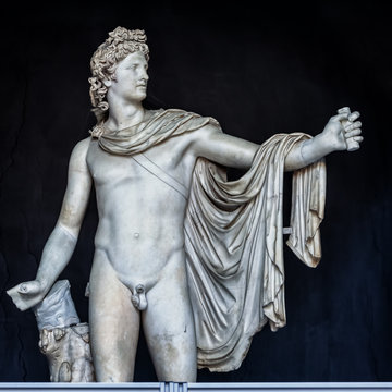 The ancient marble sculpture of Apollo