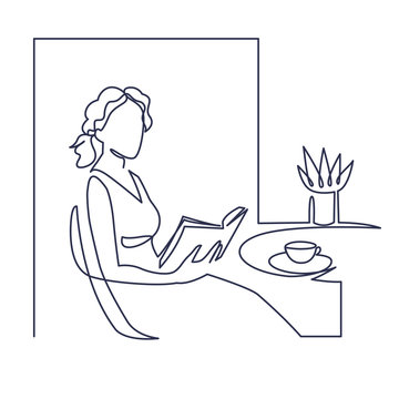 Young woman reading book continuous one line vector drawing