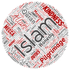 Vector conceptual islam, prophet, mosque round circle red word cloud isolated background. Collage of muslim, ramadam, quran, pilgrimage, allah, duties, art, calligraphy, oriental, tradition concept