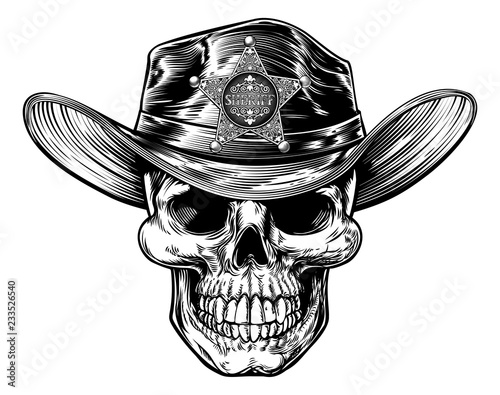 c07456a2 Skull sheriff cowboy drawing in a vintage retro woodcut etched or engraved  style