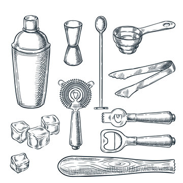 Cocktail bar tools and equipment vector sketch illustration. Hand drawn icons and design elements for bartender work
