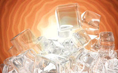 Ice cubes isolated on orange red background 3d illustration