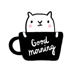 Good morning lettering cup of coffee with cat illustration black and white hand drawn in minimalistic style for printsposters cards postcards banners books and notebooks