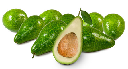 image of avocado on white background