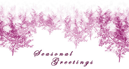 Pink simple seasonal greetings with trees and text