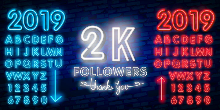 2000 followers neon sign on the wall. Realistic neon sign with number of followers. Vector illustration for celebrating a large number of subscribers in social networks.