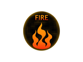 Fire icon, round button.