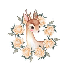 Baby Deer and roses. Cute fawn. Watercolor