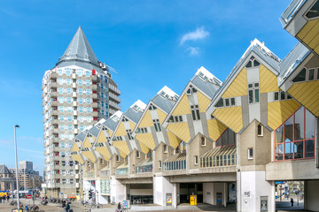 Photo Blinds Rotterdam Cube houses designed by Piet Blom in Rotterdam; Netherlands.