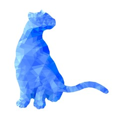 Poly animal cat sitting in blue polygonal abstract vector illustration