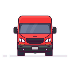 Front view of red delivery truck. Line style vector illustration. Vehicle and transport banner. Delivery and shipping service banner. Minivan transportation concept. Freight business.