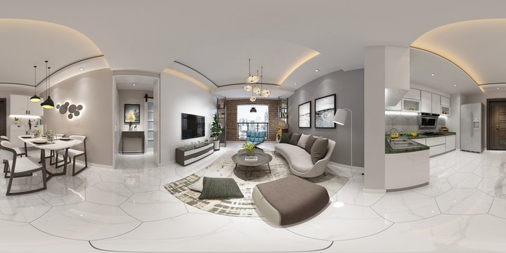 360 Degrees Home Interior, Rendering 3D.