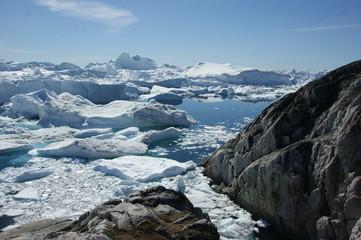 Blick zum Ilulissat-Eisfjord, Grönland