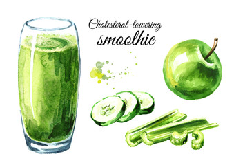 Cholesterol lowering smoothie with cucumber, Apple and celery set. Watercolor hand drawn illustration, isolated on white background