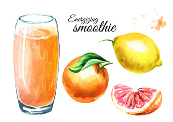 Energizing smoothie with orange, grapefruit and lemon set. Watercolor hand drawn illustration, isolated on white background
