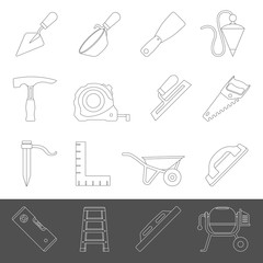 Line Icons - Masonry Tools
