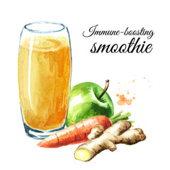 Immune-boosting smoothie with Apple, carrot and ginger. Watercolor hand drawn illustration isolated on white background