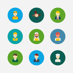 Profession icons set. Teamwork and profession icons with construction worker, hotel receptionist and arab worker. Set of corporate for web app logo UI design.