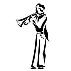 A trumpet player black outline, abstract pattern