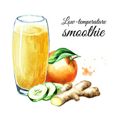 Low-temperature smoothie with orange, cucumber and ginger. Watercolor hand drawn illustration, isolated on white background