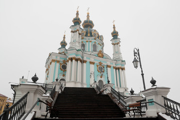 A view shows the Saint Andrew's Church in Kiev