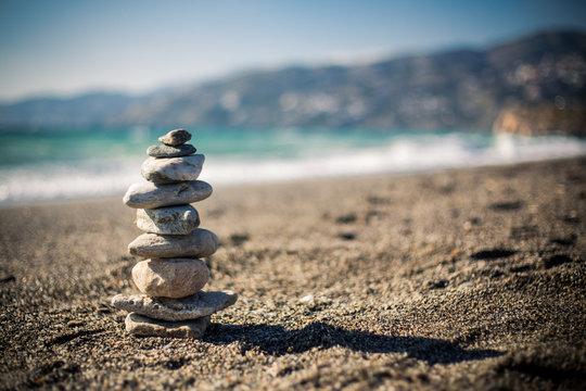 Stone tower on beach