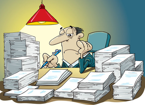Stressful business man in office with too many stack of paper and folder on his desk. Business concept in overload work and very busy