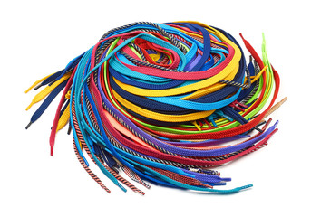 Multi-colored shoe laces Wall mural