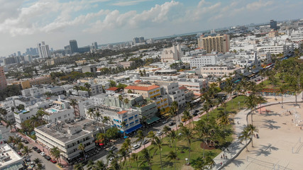 Wall Mural - Aerial view of Miami Beach skyline and coastline on a sunny day, Florida