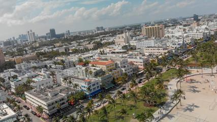 Fototapete - Aerial view of Miami Beach skyline and coastline on a sunny day, Florida