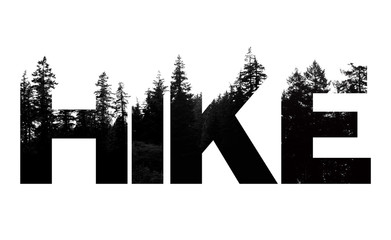 Hike word made from outdoor wilderness treetop lettering Wall mural