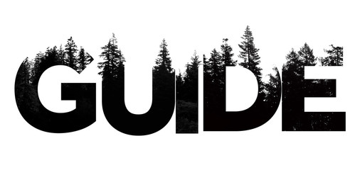 Guide word made from outdoor wilderness treetop lettering Wall mural