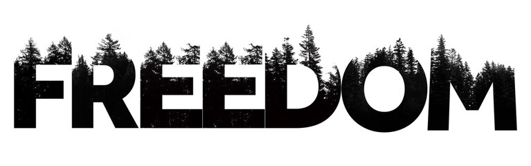 Fototapeta Freedom word made from outdoor wilderness treetop lettering