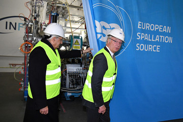 Italy's President Sergio Mattarella and King Carl Gustaf of Sweden inaugurate an ion cellar at the research institute ESS