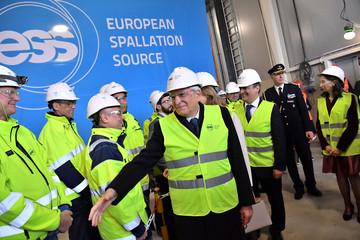 Italy's President Sergio Mattarella inaugurates an ion cellar at the research institute ESS in Lund
