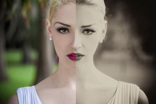 Color and Black and White Split Screen Picture Beautiful Blond Woman in White Dress