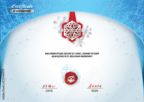 Christmas Certificate Border.Christmas Certificate Blue Border And Snowflake Emblem